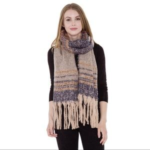 Accessories - Striped Pattern Blanket Scarf with Fringes💙